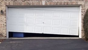Out of track garage door