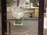 An attempted break-in at a local store where security window film was installed.