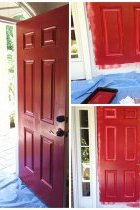 Front Porch Decorating Ideas: A front door after one,  two and three coats of red paint
