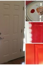 Front Porch Decorating Ideas: A white front door in the process of being painted a vibrant red