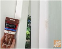 Front Porch Decorating Ideas: Filling in dings with wood filler before painting the front door