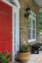 Front Porch Decorating Ideas: Red front door from Sandra of Sawdust Girl blog