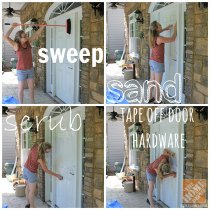 Front Porch Decorating Ideas: Sandra of the Sawdust Girl blog preps her door for painting