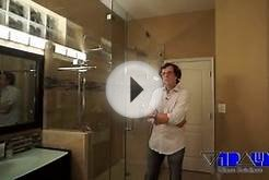 AN AMAZING FRAMELESS GLASS SHOWER DOOR , BATHROOM